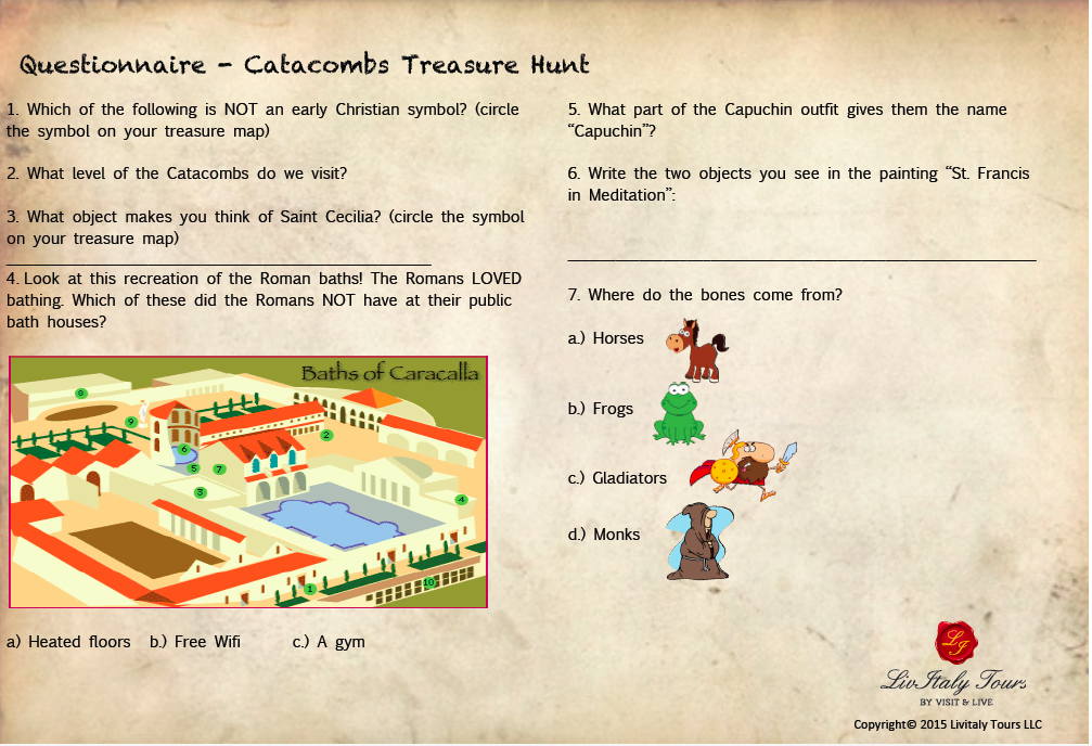 Catacombs for kids Catacombs Treasure Hunt